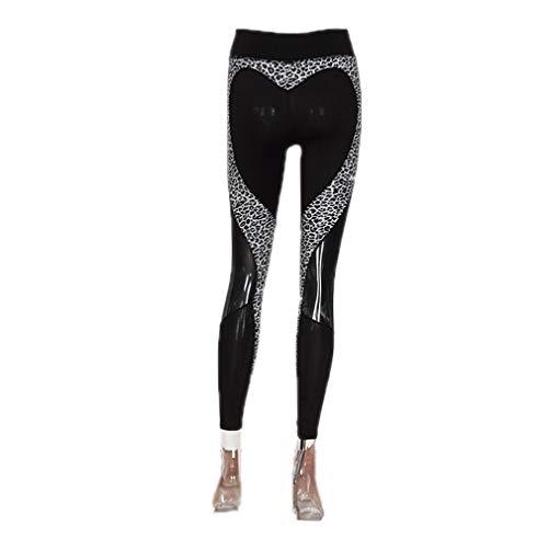 KAILSOS High Waist Leopard Heart Mesh Design Yoga Pants Women's Fitness Sport Running Leggings Tights Trousers Black L ()