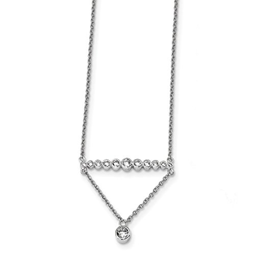 Cubic Zirconia Cz 18 Inch Drop Chain Necklace Pendant Charm Fine Jewelry For Women Gift Set ()