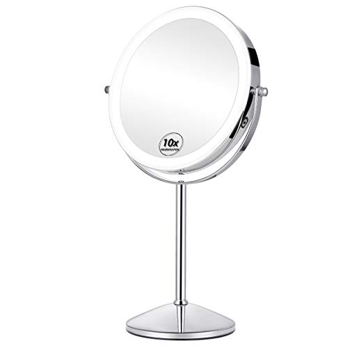 KEDSUM Rechargeable 8 Inch 1X 10X Magnifying Mirror With Light, Double Sided Lighted Makeup Mirrors with Magnification 3 Lighting Modes,Cosmetic Tabletop Mirror With Stand, Touch Button