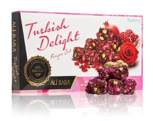 Turkish Delight with Real Rose Petal with Pomegranate Double Pistachios Gourmet Sweet Confectionery Box Candy Dessert New Finger Cut 1 LB ALI BABA
