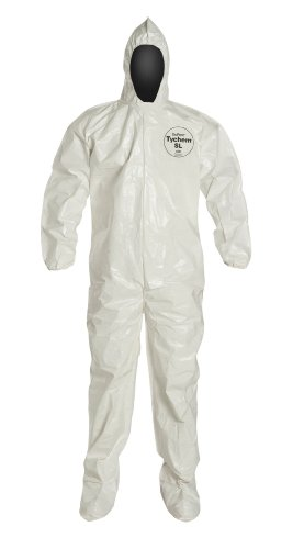 DuPont Tychem 4000 SL122T  Chemical Resistant Coverall with Hood and Boots, Disposable, Elastic Cuff, White, 2XL (Pack of 6) ()