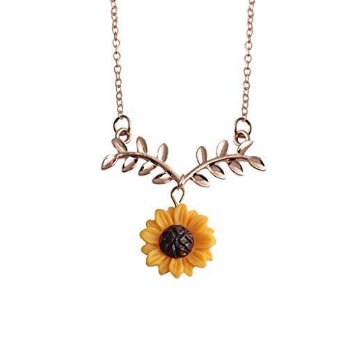 hion Sunflower Leaf Pendant Necklace with Lovely Flower Collarbone Chains Jewelry Gifts ()