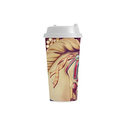 Merry-go-round cavalli di legno personalizzati 16 Oz doppia parete di plastica sport bottiglia di acqua tazze tazze di viaggio tazze di caff/è per le donne studente tazza di latte bicchier