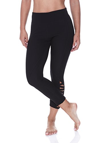 Out Cut Out - N.Y.L. New York Laundry Women's Zig Zag Cutout Workout Exercise Leggings Black 1X-Large