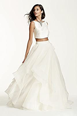 Organza Two-Piece Mikado Crop Top Ball Gown Wedding Dress Style SWG687