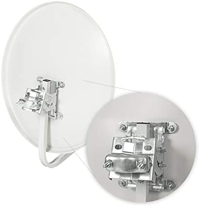 Diesl.com - Kit Antena parabolica de Television satelite Digital - 50cm + LNB Single 4K + Soporte + Cable + Accesorios instalacion