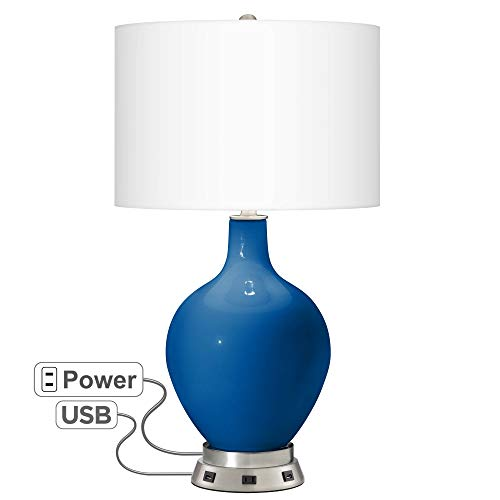 Hyper Blue OVO Table Lamp with USB Workstation Base - Color + Plus ()