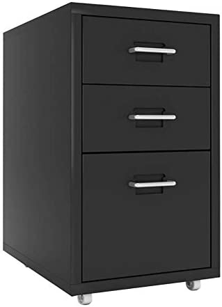 CTO Schrank J-File-Datei, 3-Layer-Schublade Mobile Office-Datei, gewerbliche Lagerung, vollständig zusammengebaut, außer Rollen, für Office,Schwarz,1.0mm