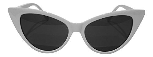Cute White Cat Eye Sunglasses - 400UV Lens Protection - Retro Glasses With Cateyes Frames - Best Vintage 50's Costume For Women
