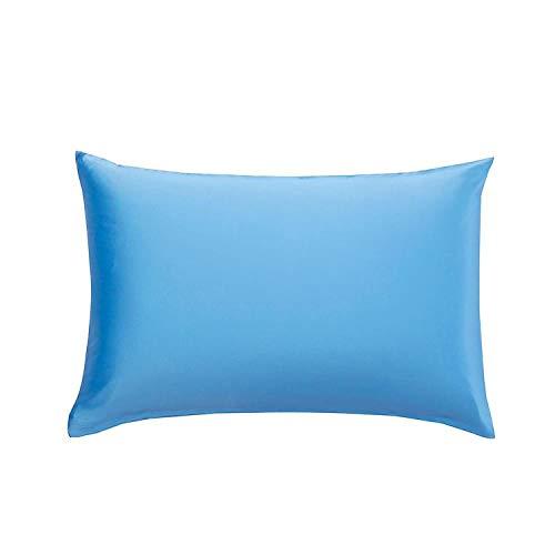 Silk Pillowcase Hair with Hidden Zipper 19,Lake Blue,50x60cm]()