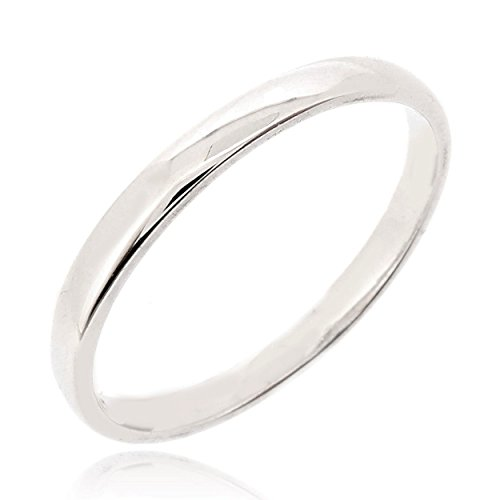 (SOVATS Stack Small Band Ring 925 Sterling Silver Rhodium Plated - High Polish Eternity Band Tarnish Resistant Comfort Fit Wedding Band 2mm Ring, Size)