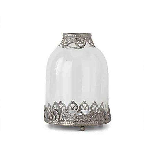 - K&K Interiors Clear Glass Hurricane Votive Candle Holders with Narrow Top and Metal Filigree, Glass Votive Candle Holders for Weddings, Parties, and Home Décor (7.25 Inch)