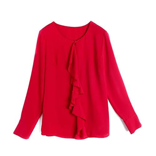 Redondo Mujeres Cuello Cardigan Seda Para Blusa De Color Red Sólido Manga Camisa Las Tops Moda Larga 65v1nwwf