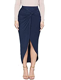 Maxi Tulip Skirt for Women - Draped Wrap High Low Bodycon with Asymmetrical Hem