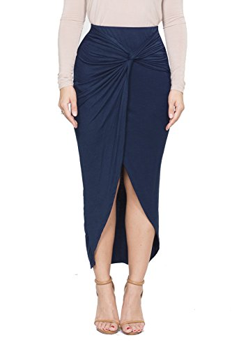 ICONOFLASH Women's Asymmetrical High-Low Tulip Bodycon Midi Skirt (Large, Navy Blue)