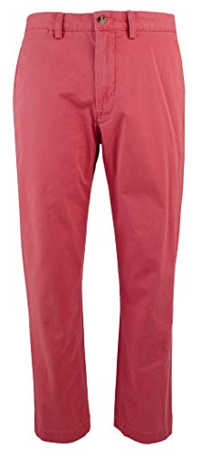 RALPH LAUREN Polo Men's Stretch Straight Fit Flat Front Chino Pants (Nantucket Red, 32x32)