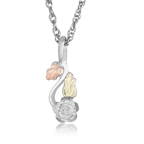 Black Hills Sterling Silver Rose Flower Pendant Necklace, 12k Gold (Black Hills Gold Flower)