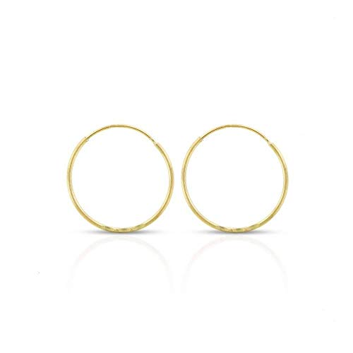 14k Yellow Gold Women's Endless Continuous Round Tube Hoop Earrings 1mm Thick 10mm - 20mm, Basic & Diamond-Cut (14mm Diamond-Cut)