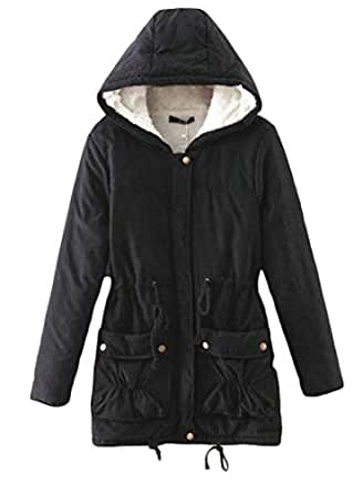 Amazon.com: BU2H Women Mid Long Winter Hooded Cotton Plus