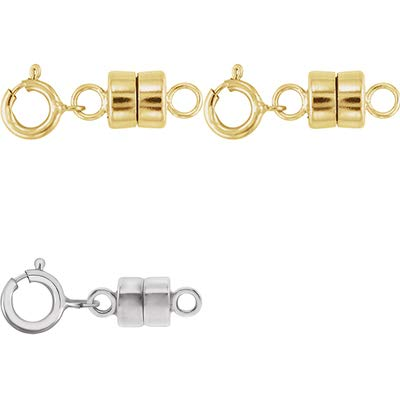2 - Each New Solid 14k Yellow Gold and 1 - New Solid 14K White Gold Round Magnetic Clasp w/ 14K White Gold 5mm Spring Ring Clasp for Necklaces, Bracelets, and Anklets - Jewelry By Sweetpea ()