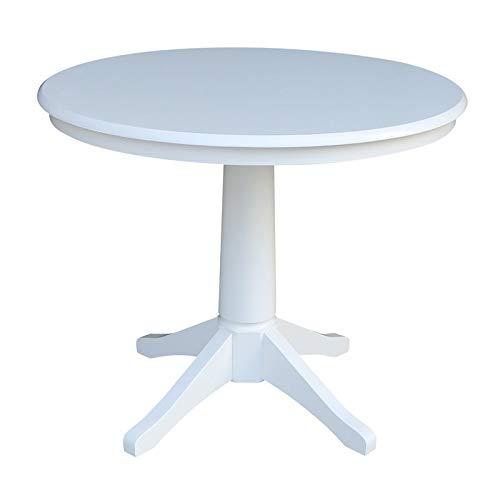International Concepts K08-36RT-27B 36'' Round Top Pedestal Table-28.9'' H, White by International Concepts
