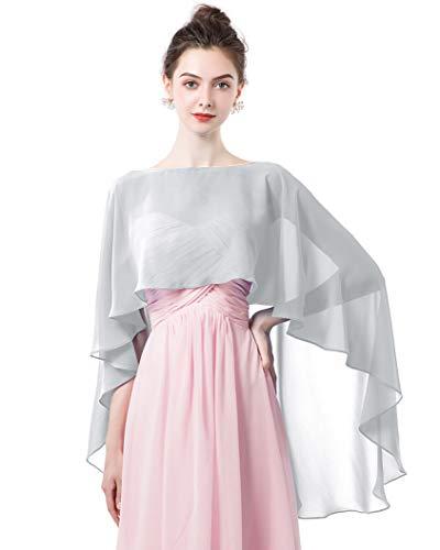 Women Shawl Wrap Wedding Capes Sheer Chiffon Shrug for Dresses Cover Up Gray -