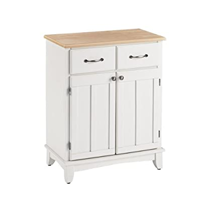 Home Styles 5001-0021 Buffet of Buffets 5001 Series Wood Top Buffet Server, White Finish - This cabinet buffet server collection is designed to provide added storage and workspace for the kitchen and dining areas of the home Construction consists of solid wood and veneers including a clear coat finish White cabinet with a natural top having a two-door cabinet with an adjustable shelf and two utility drawers suspended on metal drawer slides - sideboards-buffets, kitchen-dining-room-furniture, kitchen-dining-room - 31DFqnYtGaL. SS400  -