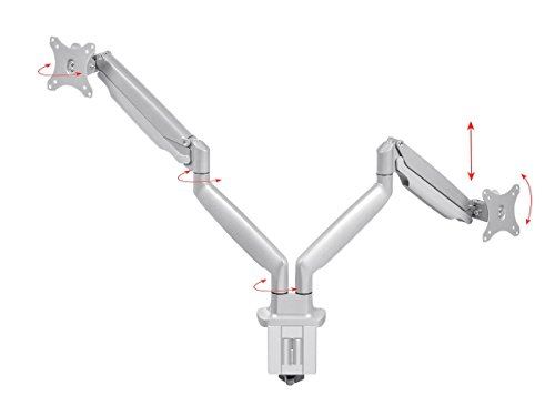 Monoprice Dual Arm Adjustable Gas Spring Desk Mount - Silver for 15 to 34 Inch Monitors, Max Vessa 100x100, Max Weight 19.8lbs - Workstream - Workstream Collection