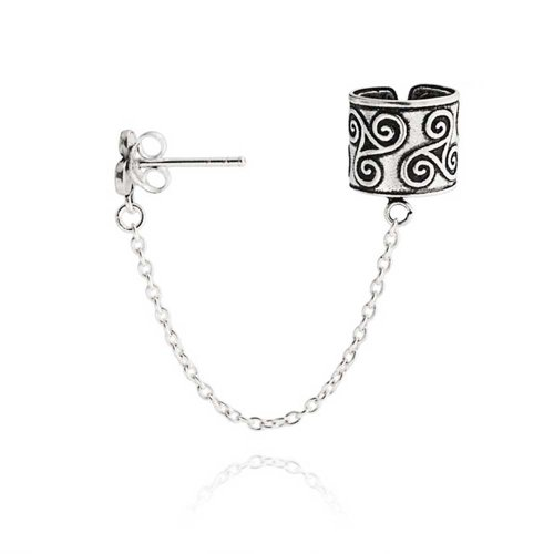 Celtic Irish Trinity Triskele Wrap Cartilage Ear Cuff Chain Pierced Ear Stud Earrings 1Pcs Oxidized 925 Sterling - Oxidized Ear Cuffs