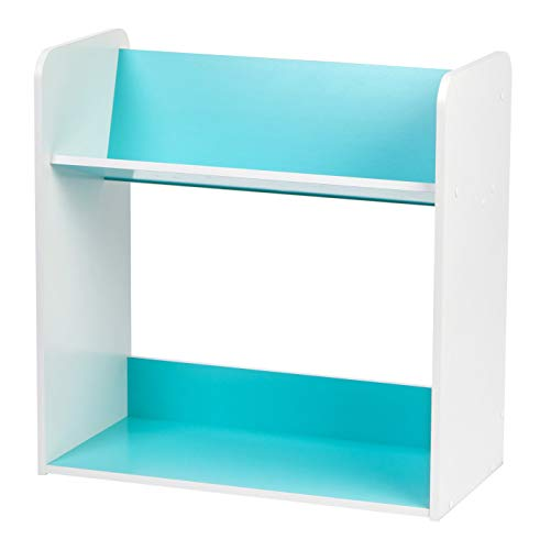 IRIS 2-Tier Tilted Shelf Book Rack, Blue and White