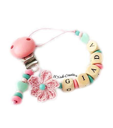 Cadena puerta chupete rosa | nombre adaptable: Amazon.es: Handmade