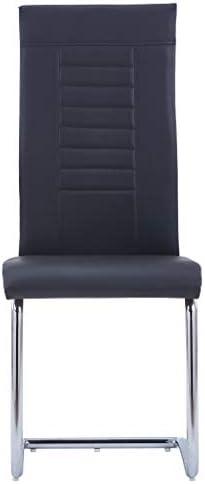vidaXL 6X Chaises de Salle à Manger Cantilever Chaises de Repas Chaises de Cuisine Chaises de Salon Maison Restaurant Bureau Noir Similicuir