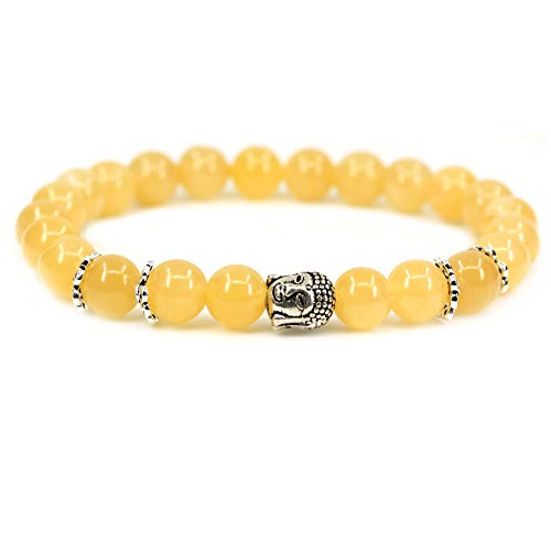 (Natural Yellow Jade with 925 Sterling Silver Buddha Head Gemstone 8mm Round Beads Stretch Bracelet 7