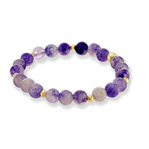 Believe London Amethyst Gemstone Bracelet Healing Bracelet Chakra Bracelet Anxiety Crystal Natural Stone Men Women Stress Relief Reiki Yoga Diffuser Semi Precious