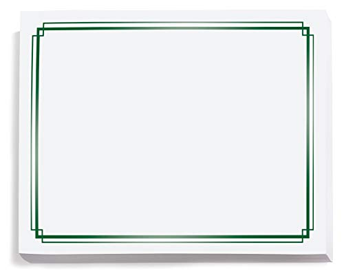 (White with Green Foil Border Specialty Certificates, 8.5 Inches x 11 Inches, 50 Sheet Count)