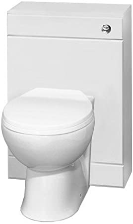 ELEGANT White 2 Pieces Ceramic Toilet Back to Wall with Gloss White Concealed Cistern WC Unit Bathroom Furniture Square Toilet Pan seat 252mm