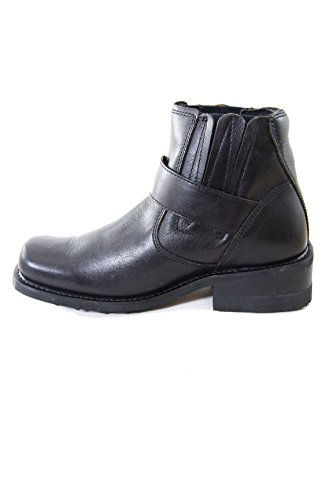 Diesel Brando Chelsea Black Leather Boots with Buckle and Crepe Rubber Black