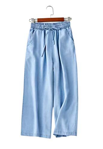 OSEING Women's Loose Denim Wide Leg Pants Elastic Waist Cropped Casual Pants (Light Blue, ()