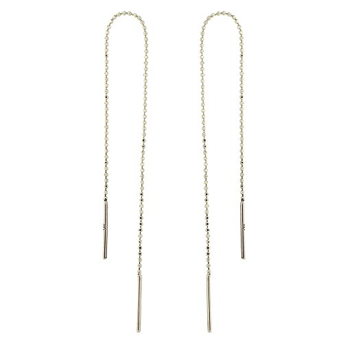 Automic Gold Solid 14k White Gold Bead Chain Threader Earrings -