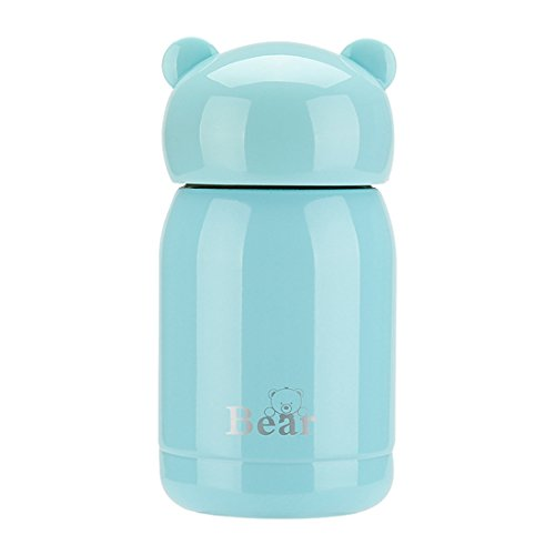 ZHNONE Portable Thermos Travel Mug Cute Design Vacuum Insulated Stainless Steel Thermos Water Bottle, Mini Size Coffee Thermos & Vacuum Flask-(Blue,5.5 ounce)