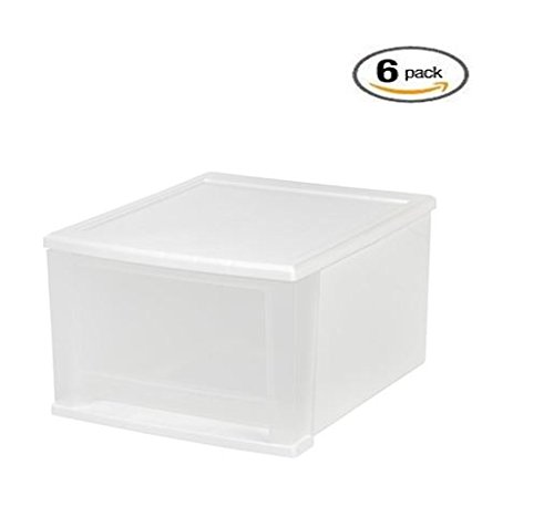 IRIS 17 Qt. Stacking Drawer, Medium, White/Clear (6 (Stacking Supply Drawer)