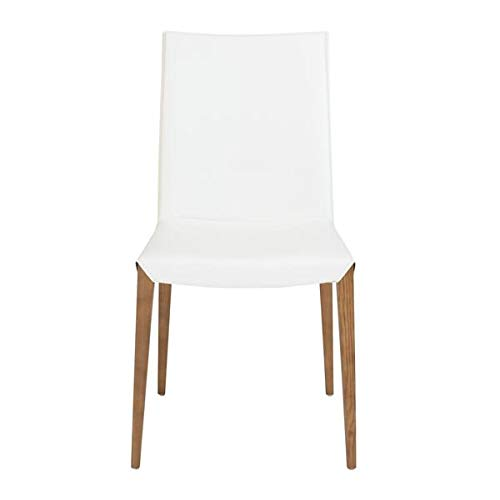 White Leatherette Guest or Conference Chair with Ash Wood Legs (Set of 2) ()