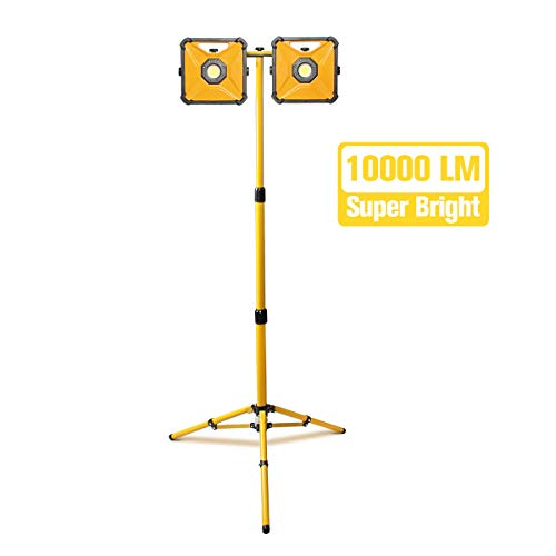 PROSTORMER 10,000LM Dual-head LED Work Light with 2 Brightness Modes, IP66 Waterproof Jobsite Light with Telescoping Tripod Stand for Construction Site, Workshop, Garage (Led Dual Head Work Light With Tripod)