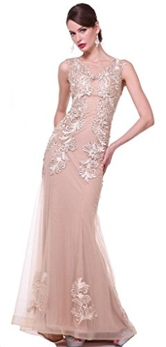 Meier Women's Mermaid Embroidery Prom Evening Formal Dress Champagne-8