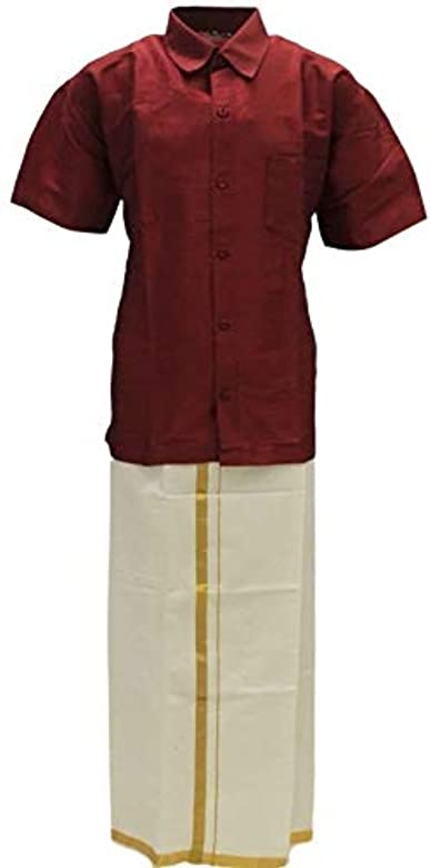 Krishna Sarees BVS3000 Maroon and Cream Boys Veshti Sattai Angavastram Set Age 0-10 Years