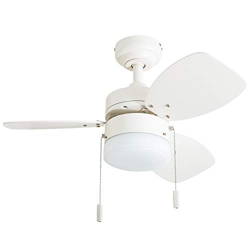 """(Honeywell Ceiling Fans 50600-01 Ocean Breeze Contemporary, 30"""" LED Frosted Light, Light Oak/Satin Nickel Finish Blades, White )"""