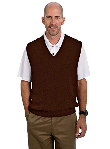 (Alpaca Golf Men's V-Neck Links Vest (XLarge, Dark Heather Brown))