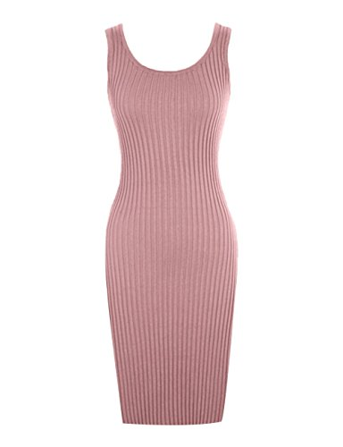 Tank Cotton Dress Scoop Midi Length Knee Bodycon Knitted Neck Stretch Casual Pink FAIMILORY UwCBvqB