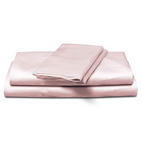 4-Piece Super Soft Silky Satin Bed Sheet Set, Multiple Colors (Full, Pink)
