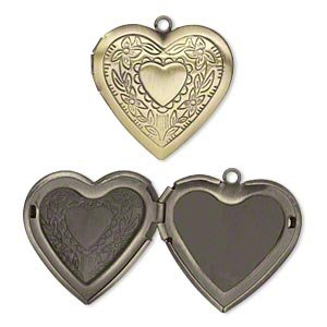Antiqued Stamped Brass - Charm antiqued brass 29x27mm single-sided heart locket with stamped heart and flower design
